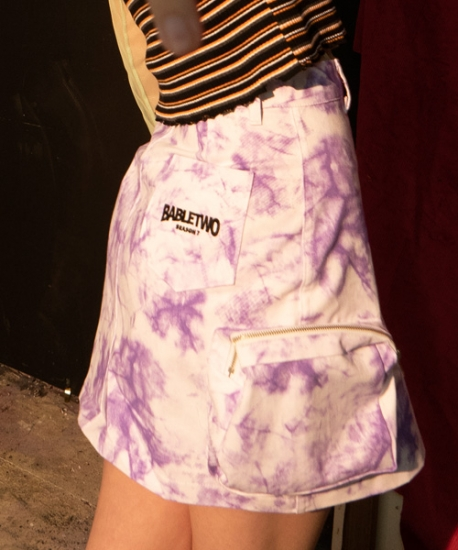 【B ABLE TWO】TIE DYE CARGO POCKET SKIRT WHITE ビーエーブルトゥー タイダイカーゴポケットスカートホワイト