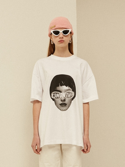 【13MONTH】FACE PRINTING T-SHIRT WHITE サーティーマンスフェイスプリントTシャツホワイト