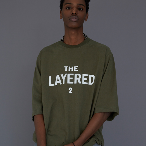 【LE`2】THE LAYERED 2 T-SHIRT OLIVE レトゥ ザレイヤード2 Tシャツ オリーブ